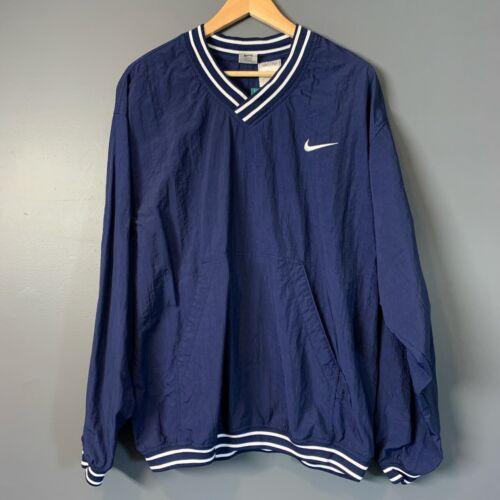 Vintage 90s Nike Pullover Windbreaker Navy V Neck