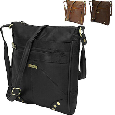 Leather Shoulder Bag Hand Bag Purse Top Zip with Pleated /& Stud Lorenz Soft Real