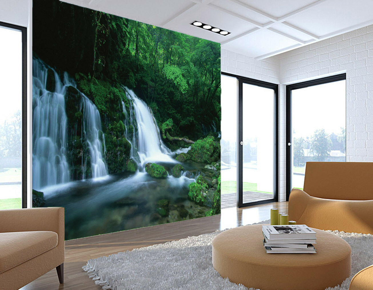 3D Waterfall Creek 452 Wall Paper Wall Print Decal Wall Deco Indoor Mural Carly