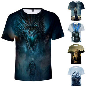 Mens-Game-of-Thrones-T-Shirt-Tops-Polyester-Short-Sleeve-Crew-Neck-Casual-Tee
