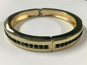 Coldwater-Creek-Gold-Tone-Green-Stone-Bracelet