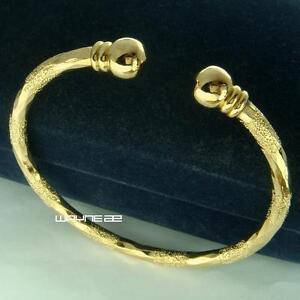 18k-Yellow-Gold-Filled-Lady-Women-039-s-Open-Bangle-Bracelet-GF-Jewelry-g111