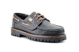 Detalles de Zapatos caballero zapatos cubierta cuero genuino vela zapatos negro marrón azul España ver título original