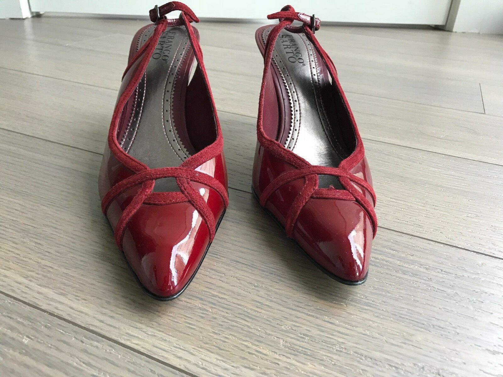 PREOWNED Franco Sarto rot Leather Leather Leather pointed toe slingback heels Größe 8 866111