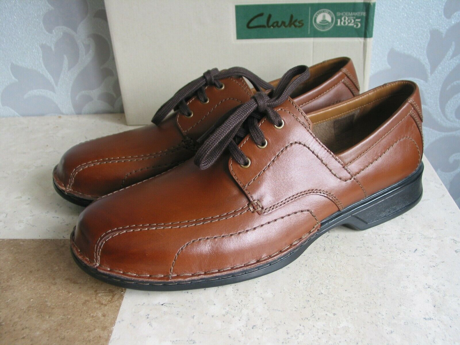 NEW CLARKS CUSHION SOFT NORTHERN EDGE TAN LEATHER SHOES UK SIZE 12