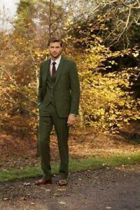Green Men's Suit Tweed Check Vintage Wool Blend Groom Tuxedos Prom Suit Custom