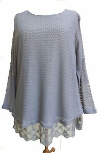 Lagenlook-Boutique-Style-2xLayer-Lace-Knit-Top-Grey-SIZES-18-20-amp-20-22