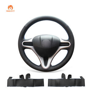 Hand-Sew-Black-PU-Leather-Steering-Wheel-Cover-for-Honda-Fit-2009-2013-City-Jazz