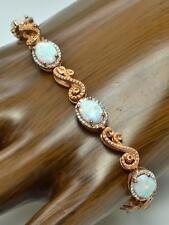 """Designer 7.25"""" Sterling/14k Rose Gold Opal & Diamond Accent Swirl Bracelet 12g"""