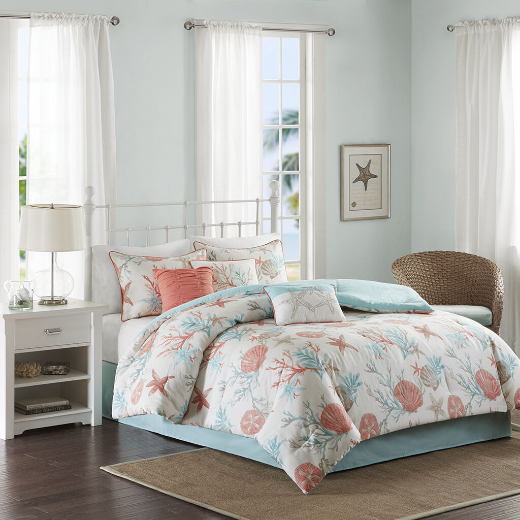 BEAUTIFUL MODERN BEACH OCEAN COAST SEASHELL TEAL AQUA Blau CORAL COMFORTER SET