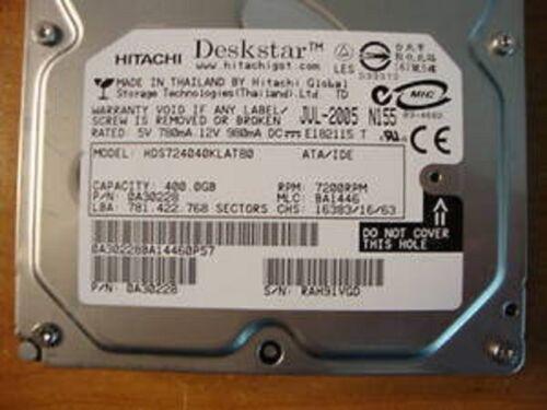"""Hitachi HDS724040KLAT80 MLC:BA1446 PN:0A30228 400gb IDE 3.5/"""" Hard Drive"""