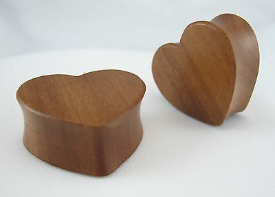 1 PAIR HEART SHAPE ORGANIC RED CHERRY WOOD PLUGS DOUBLE FLARE EAR LOBE GAUGE NEW