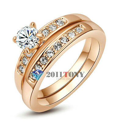 2 in 1 Womens Rings 18K Rose Gold Plated Use Swarovski Crystal Fashion Jewellery