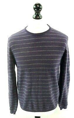 Calvin Klein Da Uomo Maglione Pullover M Medium Viola Righe Grigie Lana Merino-mostra Il Titolo Originale
