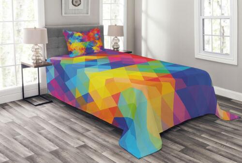 Geometric Blurry Art Print Details about  /Digital Quilted Bedspread /& Pillow Shams Set