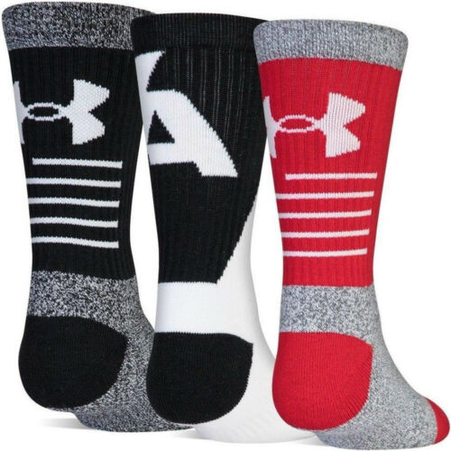 NWT Under Armour Boys Youth Phenom 3.0 Cushioned Crew Socks 3 Pack Basketball