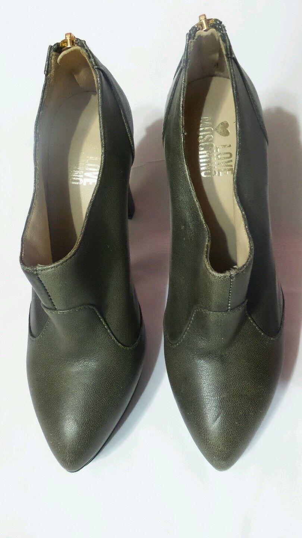 Moschino Love Olive Leder Platform Bootie Schuhes zip back Größe 37 5.5US