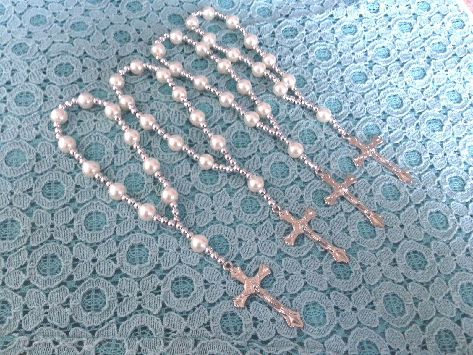12 Baptism Communion Pearl Bracelets Favors Recuerdos Bautizo Roario Pulceras