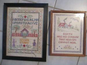 2-Old-Cross-Stitch-Samplers-framed