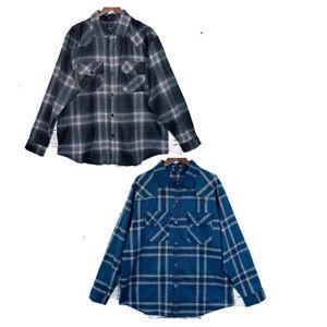 Big-Mens-Check-Flannelette-Winter-Long-Sleeve-Shirt-100-Cotton-Print-Plus-Size