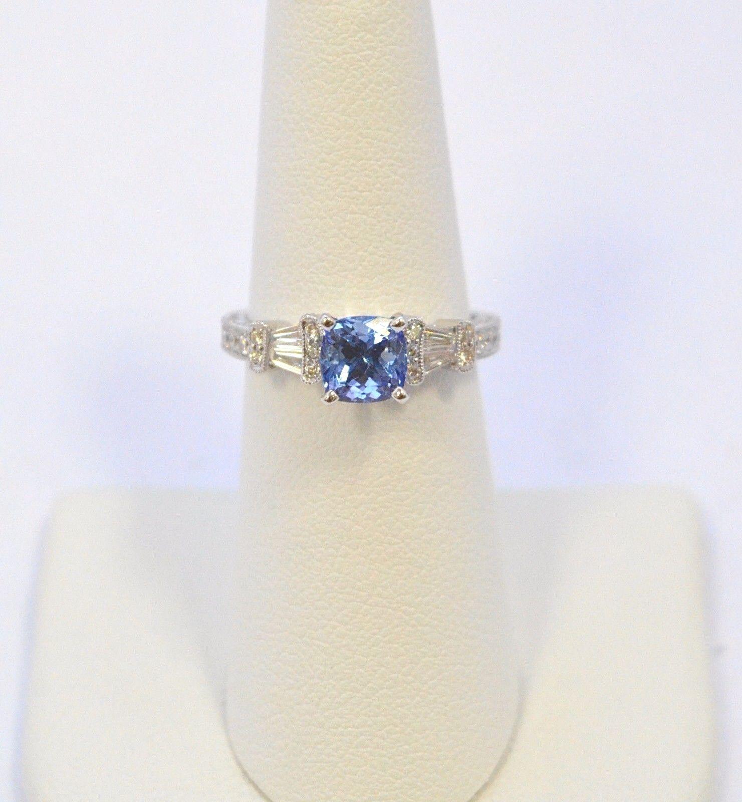 2987-18K WHITE gold TANZANITE & DIAMOND RING 2.02TCW 4.70 GRAMS SIZE 6.5