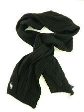 POLO Ralph Lauren $80 MEN'S Black Solid Wool Blend MUFFLER Scarf WARM WINTER M28
