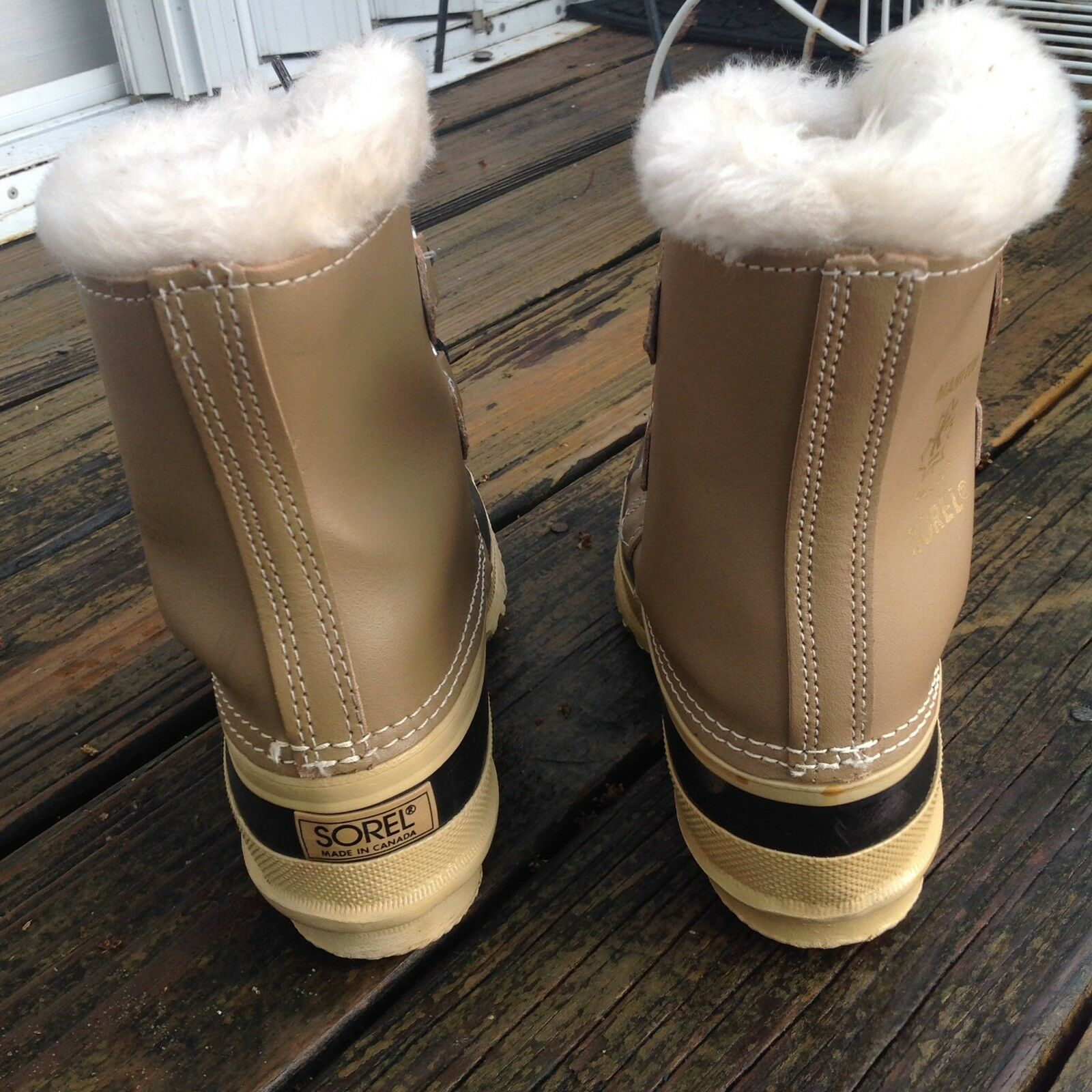 Sorel Stiefel damen Sz 5 Tan braun Leather Faux Faux Faux Fur Trim Rain Winter Rubber schuhe 07881c