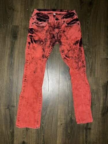 True Religion Red Acid Wash Jeans 32