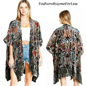 70-Retro-Vintage-Olive-Kimono-Velvet-Burnout-BOHO-Bohemian-Cardigan-Top-S-M-L-XL