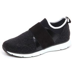 Details about E4842 sneaker donna tissue HOGAN H254 nero scarpe star dust slip on shoe woman