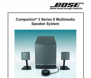 Bose Companion 3 Series Ii Service Manual Book English Multimedia Speaker System Ebay