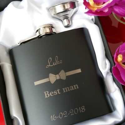Wedding Gifts Best Man Personalised Engraved Black Hip Flask Usher Gifts