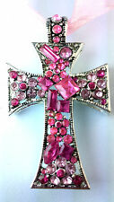 PINK MULTI STONE CROSS NECKLACE WITH PINK RIBBON TIE