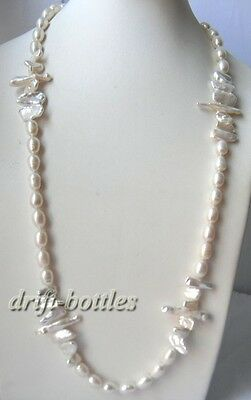 30'' 9mm White rice Biwa Baroque Freshwater Pearl Necklace