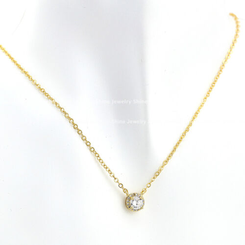 18K GOLD GF SOLID LADY GIRL 1CT HALO CRYSTAL DRESS WEDDING PENDANT NECKLACE GIFT