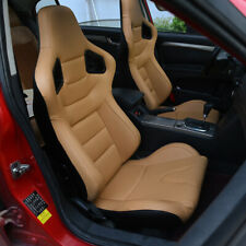 Pair Bucket Seats Racing Seat Tanta Leather White Stitching Leftright Withsliders Fits Toyota Celica