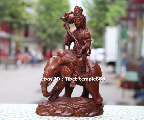 17 CM China Boxwood Samantabhadra Ride Elephant Kwan-yin Bodhisattva sculpture