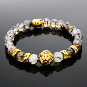 New-8MM-Owl-Buddha-Beaded-Natural-Lava-Stone-Gold-Silver-Fashion-Men-039-s-Bracelets