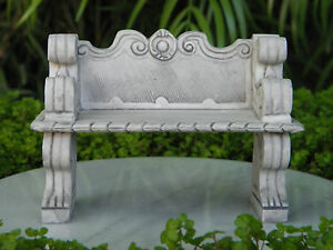 Image Is Loading Miniature Dollhouse Fairy Garden Furniture Gray Victorian Bench