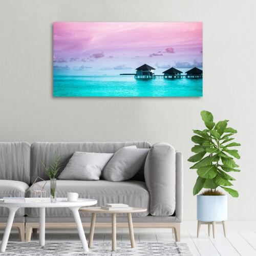 Glas-Bild Wandbilder Druck auf Glas 100x50 Deko Landschaften Bungalows Wasser