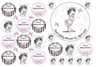 EDIBLE PERSONALISED BABY SHOWER BABY GIRL BOY ICING CAKE /& 24 CUPCAKE TOPPERS