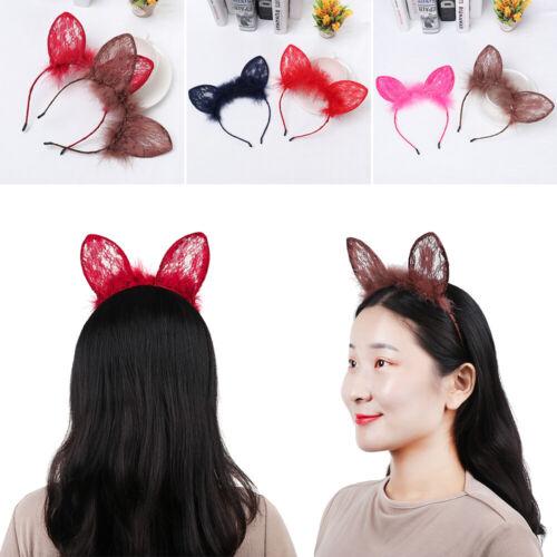 Cat Ears Headband Lace Hair Hoop Hairy Feather Hairband Halloween Headwear