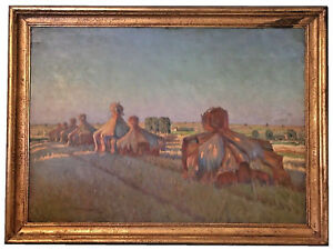 ABRAHAM-NEUMANN-POLISH-1873-1942-034-WHEAT-STACKS-034-OIL-ON-BOARD-MUSEUM-QUALITY