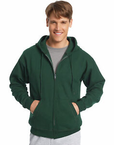Hanes-Full-Zip-Hoodie-Sweatshirt-ComfortBlend-EcoSmart-Long-Sleeve-Pocket-Plain