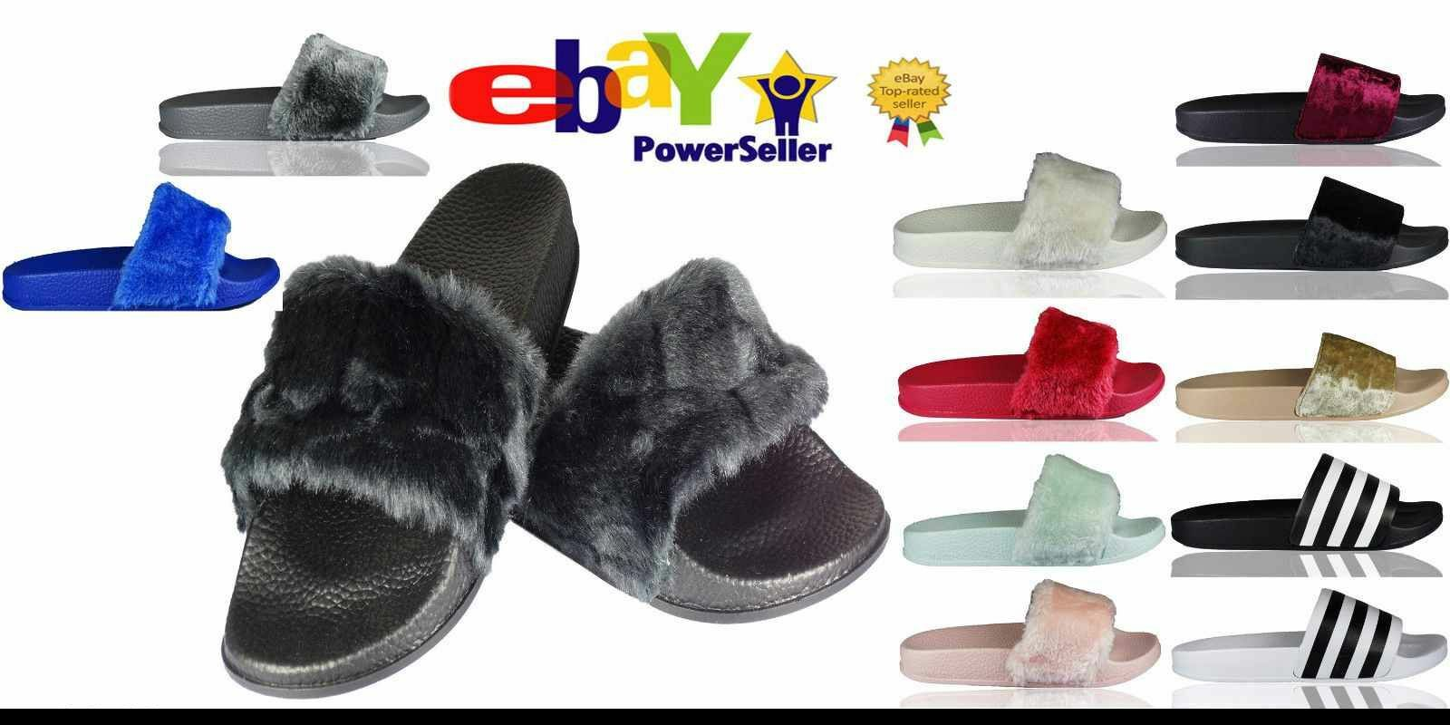 SALE New Ladies Size Flat Farrah Rubber Slider Mules Fur Slipper Rihanna Sandals