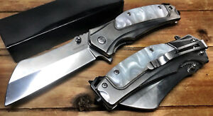 """8"""" Tactical Assisted Open Pocket Knife CLEAVER RAZOR FOLDING Blade Hunting EDC"""