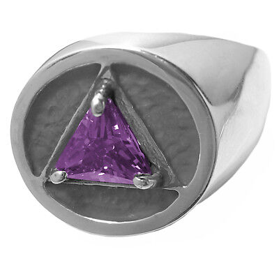 AA Alcoholics Anonymous #778-8 Size 10 Men/'s Handsome Amethyst CZ Ring Ster.