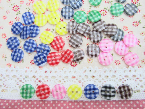 35 Gingham Check 7 Color Plastic 2 Hole Sewing Button+Case//pink//red//blue SB41