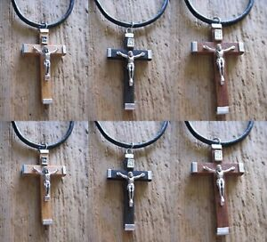 Jesus-Kreuz-Kette-Herren-Damen-neu-Halskette-Leder-schwarz-braun-Kreuzkette-Holz