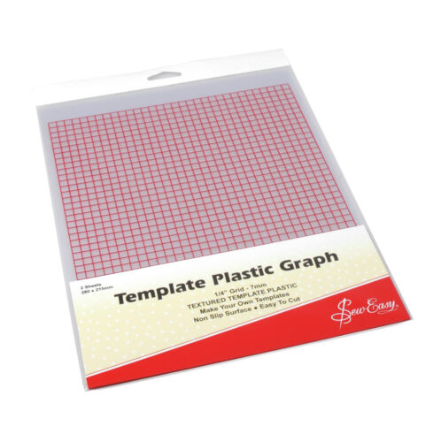 Pk of 2 Sheets Sew Easy Printed Template Plastic With 7mm Graph 280 x 215mm